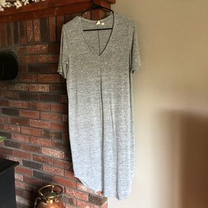 Grey V-neck stretchy T-shirt dress